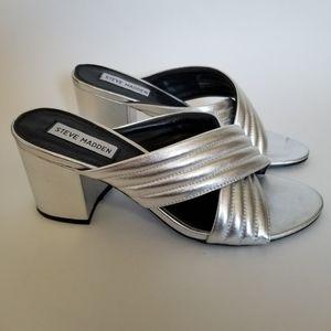 Steve Madden Icon Block Heels Slides Silver Sandal